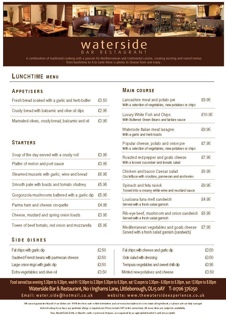 Waterside Restaurant Littleborough Menu